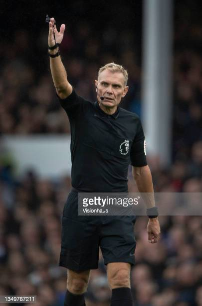 Referee Graham Scott during the Premier League match between Everton and Watford at Goodison Park on October 23, 2021 in Liverpool, England.