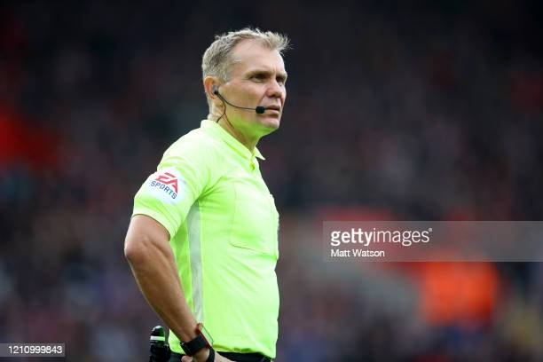 Referee Graham Scott during the Premier League match between Southampton FC and Newcastle United at St Mary's Stadium on March 07 2020 in Southampton...