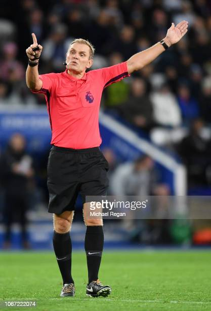 Referee Graham Scott gives instructions during the Premier League match between Leicester City and Watford FC at The King Power Stadium on December 1...