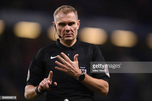 Referee Graham Scott in action during The Emirates FA Cup Third Round Replay between Chelsea and Norwich City at Stamford Bridge on January 17 2018...