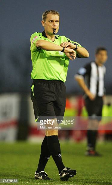 Referee Graham Scott in action during the FA Cup sponsored by Eon First Round match between Forest Green Rovers and Rotherham United at The New Lawn...