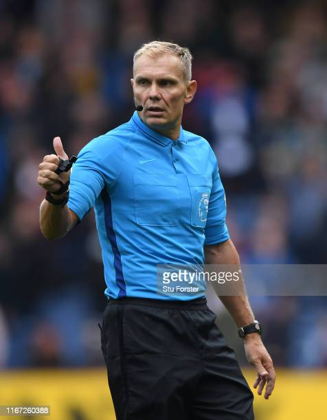 Referee Graham Scott in action during the Premier League match between Burnley FC and Southampton FC at Turf Moor on August 10 2019 in Burnley United...