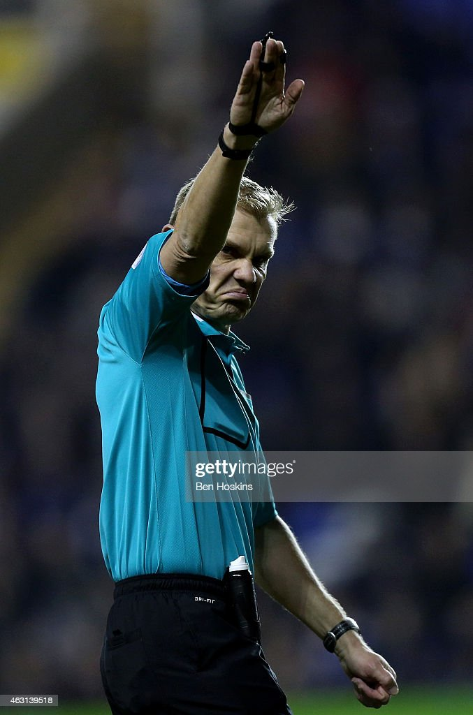 Referee Graham Scott in action during the Sky Bet Championship match between Reading and Leeds United at Madejski Stadium on February 10, 2015 in Reading, England.
