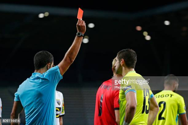 referee Grainville Nicolas show the red card for Stefan Mitrovic defender of KAA Gent pictured during the second leg of the third qualifying round...