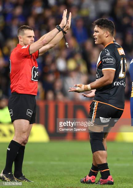 Referee Grant Atkins, sends Shawn Blore of the Tigers to the Sin Bin during the round 14 NRL match between the Parramatta Eels and the Wests Tigers...
