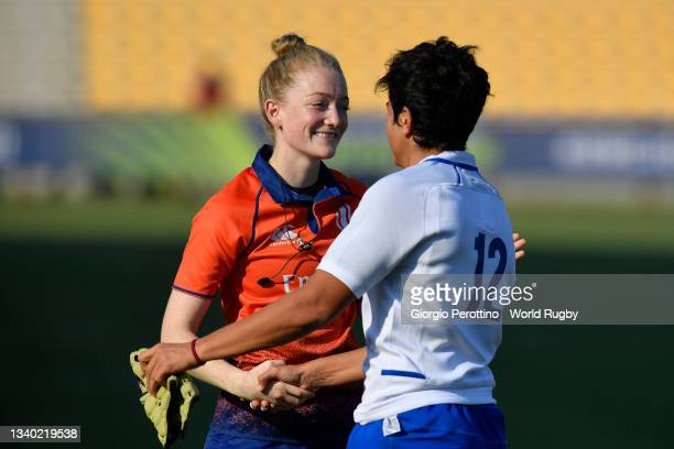 Referee greets Beatrice Rigoni of Italy during the Scotland v Italy Rugby World Cup 2021 Europe Qualifying match at Stadio Sergio Lanfranchi on...