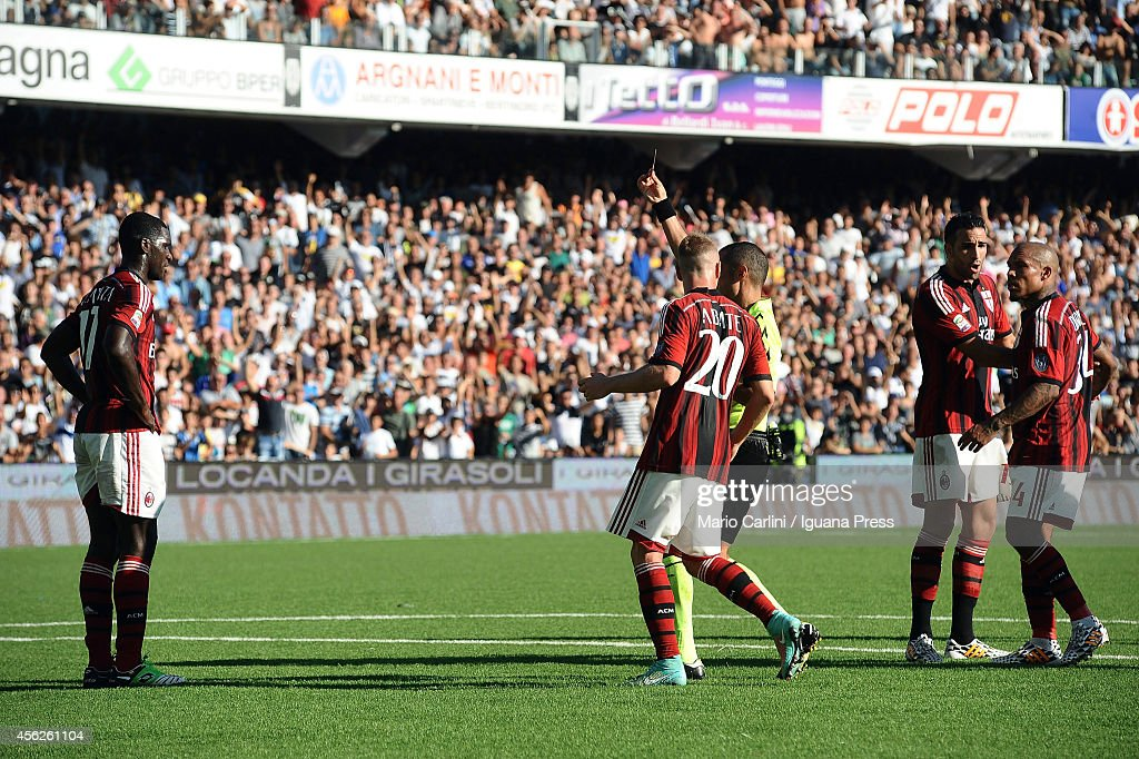 Referee Guida shows a red card to Cristian Zapata # 14 of AC Mikan during the Serie A match between AC Cesena and AC Milan at Dino Manuzzi Stadium on September 28, 2014 in Cesena, Italy.