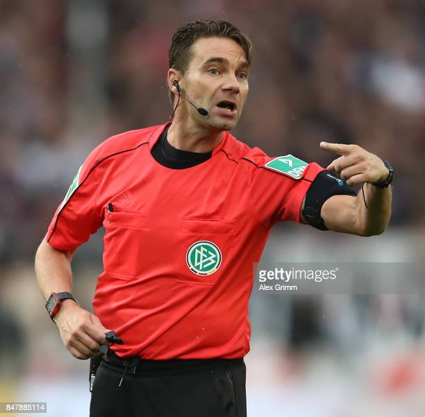 Referee Guido Winkelmann after the foul on Christian Gentner of Stuttgart during the Bundesliga match between VfB Stuttgart and VfL Wolfsburg at...