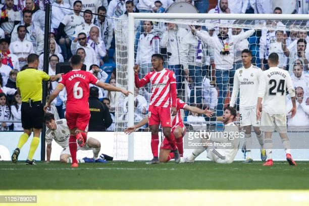 referee Guillermo Cuadra Fernandez Alvaro Odriozola of Real Madrid Alex Granell of Girona Lozano of Girona Sergio Ramos of Real Madrid Raphael Varane...