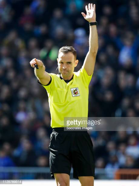 referee Guillermo Cuadra Fernandez during the La Liga Santander match between Real Madrid v Girona at the Santiago Bernabeu on February 17 2019 in...