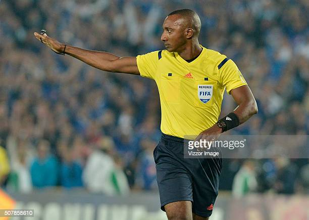 Referee Gustavo Murillo gestures during a match between Millonarios and Patriotas FC as part of Liga Aguila I 2016 at Nemesio Camacho El Campin...