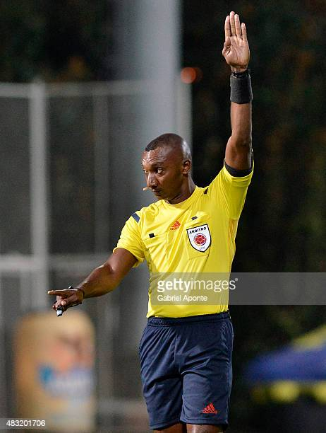 Referee Gustavo Murillo signals during a match between Patriotas FC and Millonarios as part of Liga Aguila II 2015 at Metropolitano de Techo Stadium...