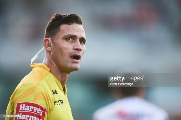 Referee Henry Perenara looks on during the round 10 NRL match between the St George Illawarra Dragons and the Canterbury Bulldogs at WIN Stadium on...