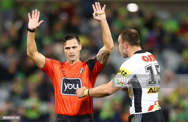 Referee Henry Perenara sends Kaide Ellis of the Panthers to the sin bin during the round 14 NRL match between the Canberra Raiders and the Penrith...