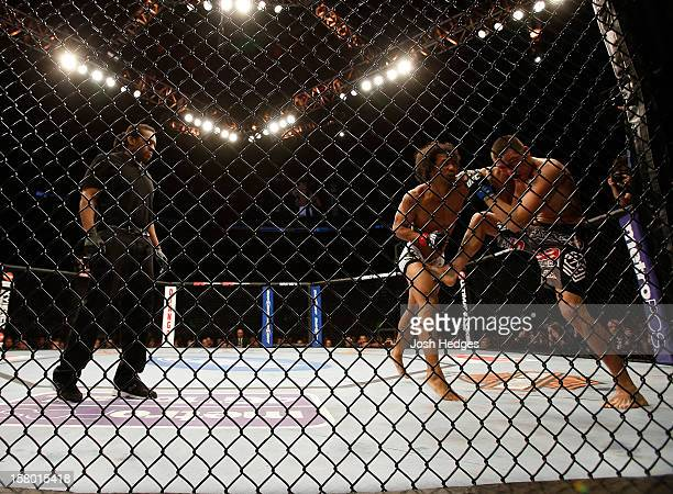Referee Herb Dean looks on at Benson Henderson punches Nate Diaz during their lightweight championship bout at the UFC on FOX event on December 8...