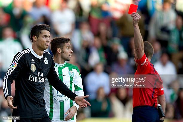 Referee Hernandez Hernandez shows the red card to Cristiano Ronaldo of Real Madrid CF during the La Liga match between Cordoba CF and Real Madrid CF...
