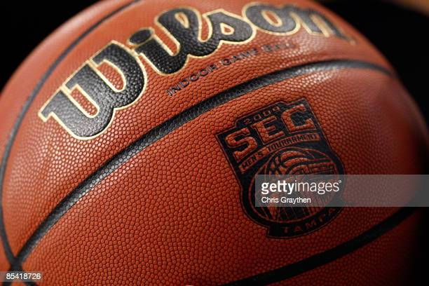 Referee holds a basketball during the game between the Kentucky Wildcats and the Louisiana State University Tigers during the second round of the SEC...
