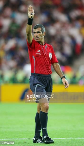 Referee Horacio Elizondo of Argentina gestures during the FIFA World Cup Germany 2006 Final match between Italy and France at the Olympic Stadium on...