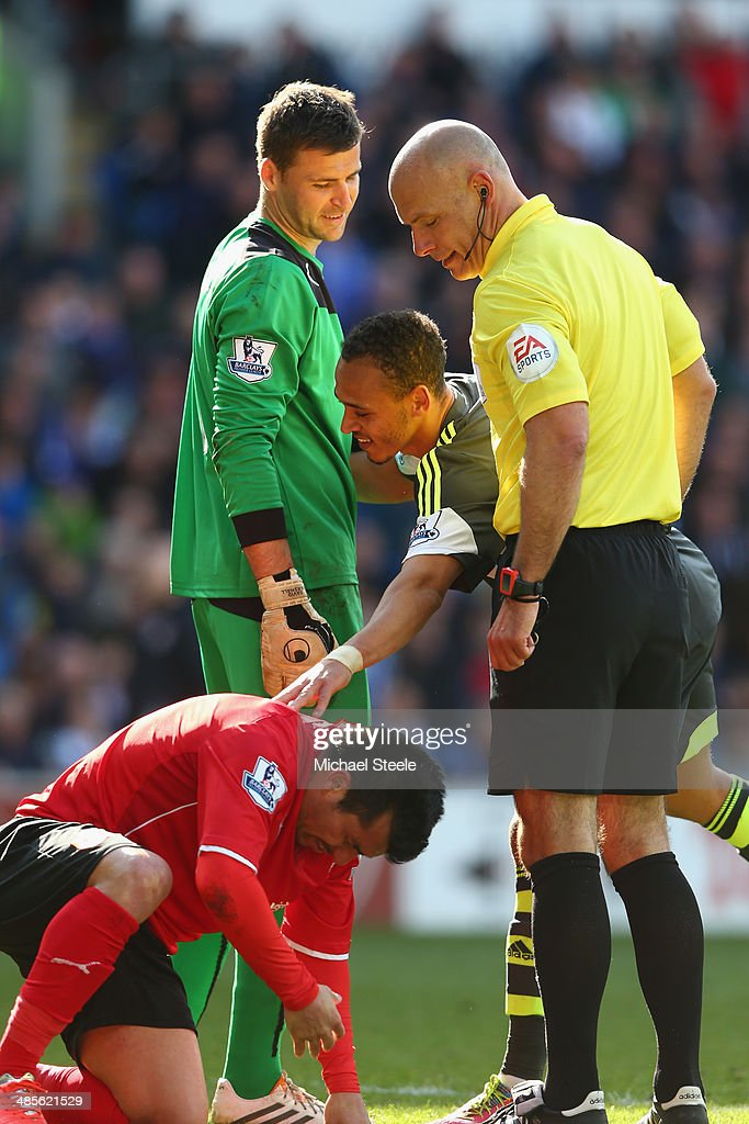 Referee Howard Webb checks the fitness of Gary Medel (L) of Cardiff City after a challenge from Peter Odemwingie (C) of Stoke City during the Barclays Premier League match between Cardiff City and Stoke City at the Cardiff City Stadium on April 19, 2014 in Cardiff, Wales.