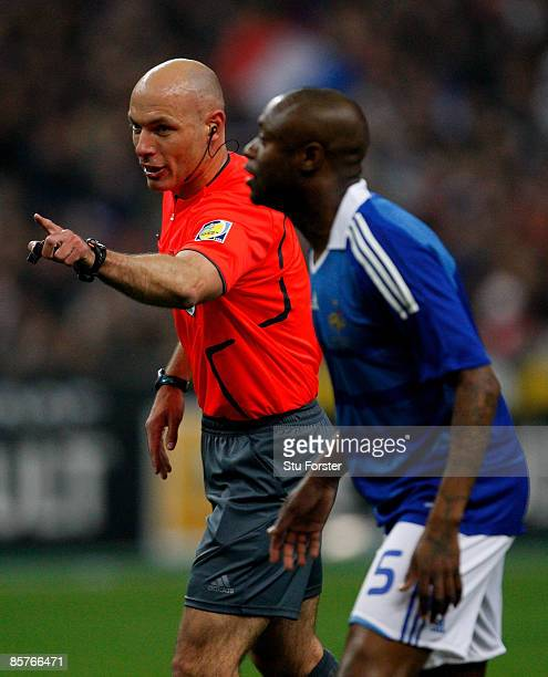 Referee Howard Webb in action during the group 7 FIFA2010 World Cup Qualifier between France and Lithuania at Saint Denis Stade de France on April 1...