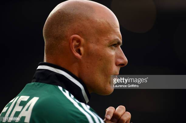 Referee Howard Webb looks on during the FIFA Confederations Cup Brazil 2013 Group A match between Japan and Mexico at Estadio Mineirao on June 22...