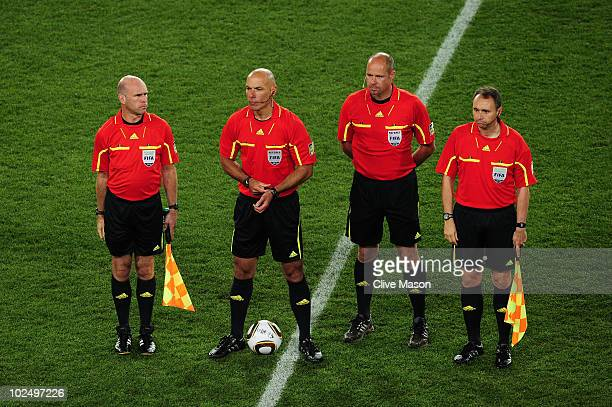 Referee Howard Webb stands with assistants Michael Mullarkey Darren Cann and fourth official Martin Hansson prior to the 2010 FIFA World Cup South...