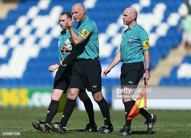 Referee Howard Webb with assistants Darren Cann and Mike Mullarkey
