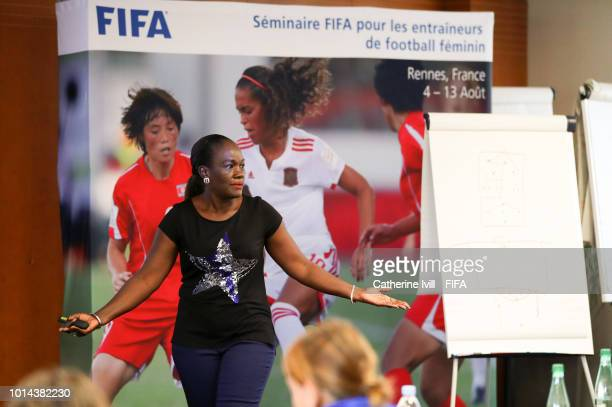 Referee Instructor Fatou Gaye speaks during a coaching workshop on August 10 2018 in Rennes France