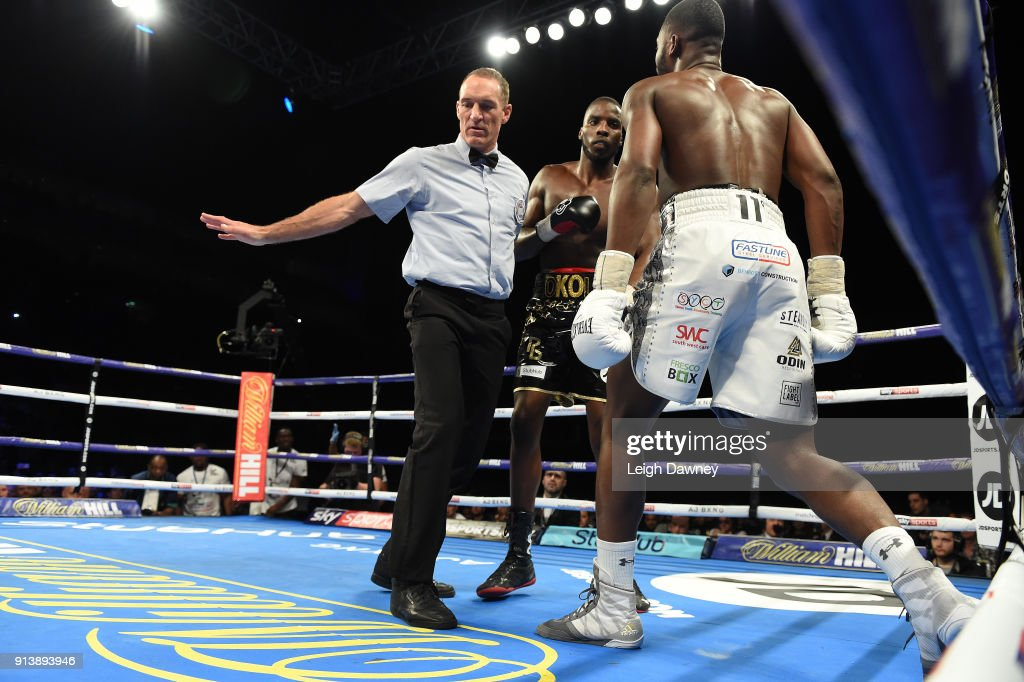 Referee intervenes during the bout between Issac Chamberlain and Lawrence Okolie for the vacant WBA Continental Cruiserweight title at The O2 Arena on February 3, 2018 in London, England.