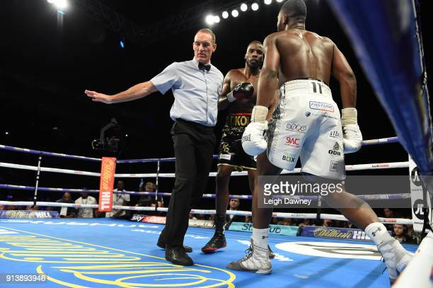 Referee intervenes during the bout between Issac Chamberlain and Lawrence Okolie for the vacant WBA Continental Cruiserweight title at The O2 Arena...