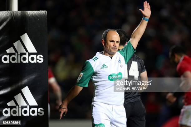 Referee Jaco Peyper awards a penalty try to the British and Irish Lions during the international rugby match between New Zealand's Maori All Blacks...