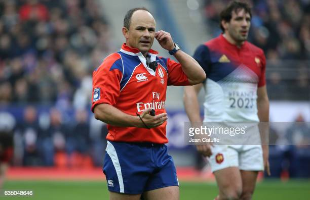 Referee Jaco Peyper of South Africa gestures during the RBS 6 Nations tournament match between France and Scotland at Stade de France on February 12...