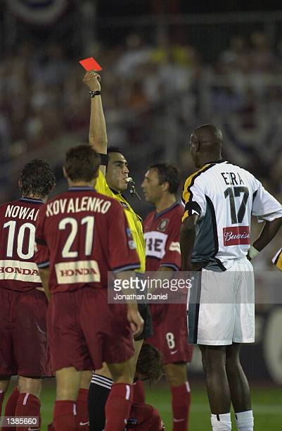 Referee Jair Marrufo ejects defender Ezra Hendrickson of the Los Angeles Galaxy in the 48th minute of the MLS match against the Chicago Fire on...