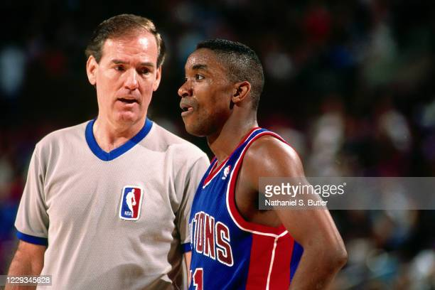 NBA referee Jake O'Donnell talks with Isiah Thomas during a game at Madison Square Garden in New York New York NOTE TO USER User expressly...