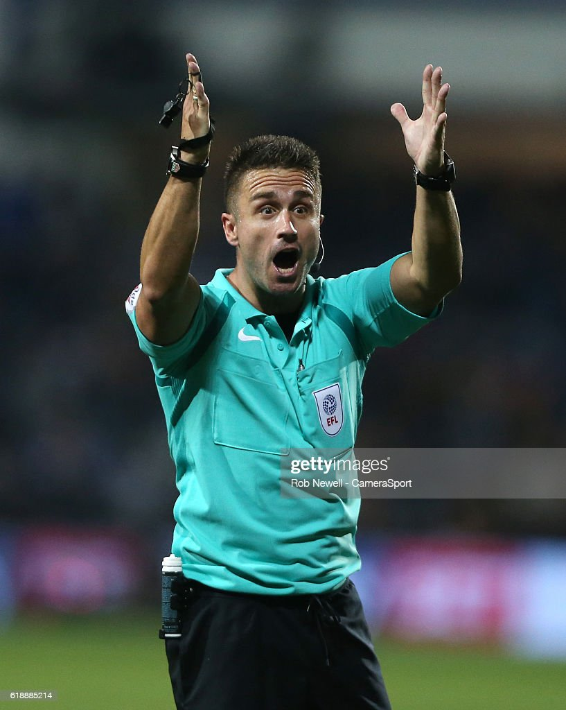 Referee James Adcock during the Sky Bet Championship match between Queens Park Rangers and Brentford at Loftus Road on October 28, 2016 in London, England.