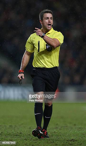 Referee James Adcock in action during the FA Cup with Budweiser Third Round Replay between Milton Keynes Dons and Wigan Athletic at Stadium mk on...