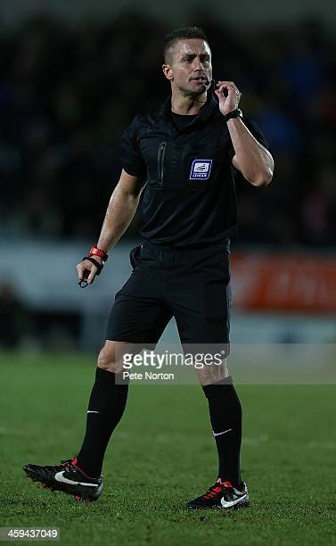 Referee James Adcock in action during the Sky Bet League Two match between Burton Albion and Northampton Town at Pirelli Stadium on December 26 2013...
