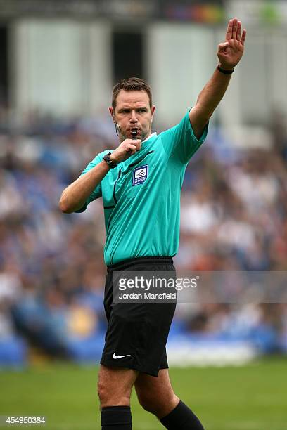 Referee James Linington makes a call during the Sky Bet League One match between Peterborough United and Port Vale at London Road Stadium on...