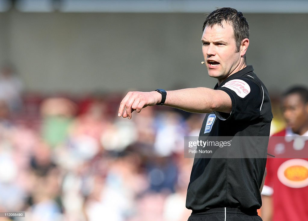 Referee James Linnington in action during the npower League Two League match between Northampton Town and Bury at Sixfields Stadium on April 9, 2011 in Northampton, England.