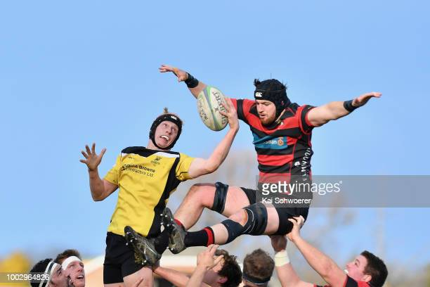 Referee James Munro looks on during the Hawkins Metro Premier Trophy Semi Final match between Christchurch FC and New Brighton RFC on July 21 2018 in...