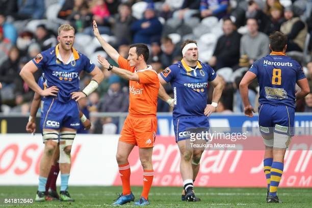 Referee James Munro signals a penalty during the round three Mitre 10 Cup match between Otago and Manawatu on September 2 2017 in Dunedin New Zealand