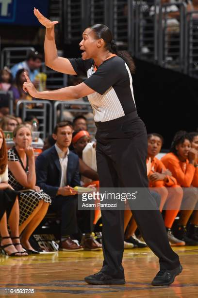 Referee, Janetta Graham makes a call during the game between the Los Angeles Sparks and the Connecticut Sun on August 25, 2019 at the Staples Center...