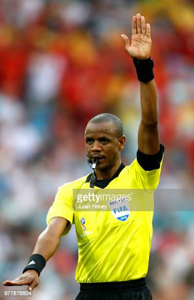 Referee Janny Sikazwe gives instructions during the 2018 FIFA World Cup Russia group G match between Belgium and Panama at Fisht Stadium on June 18...