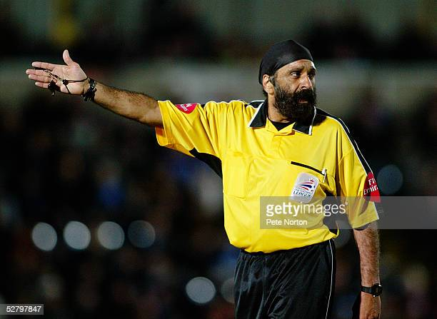 Referee Jarnail Singh during the Coca Cola League Two match between Wycombe Wanderers and Northampton Town held at The Causeway, High Wycombe on...