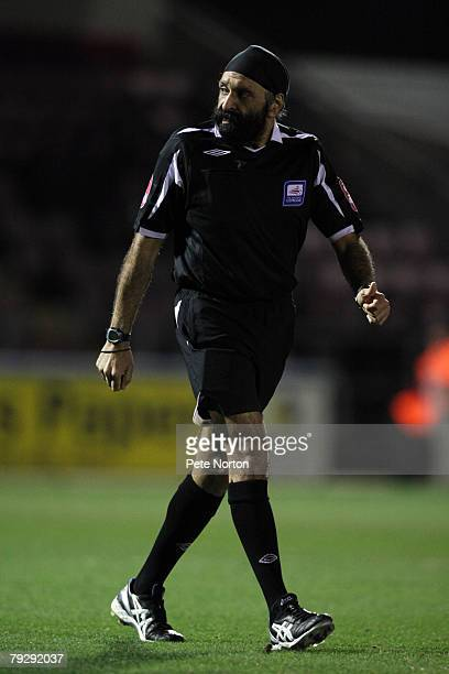 Referee Jarnail Singh in action during the Coca Cola League One Match between Northampton Town and Leyton Orient at Sixfields Stadium on January 25,...