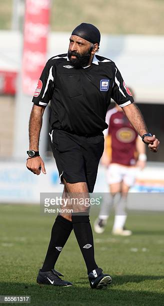Referee Jarnail Singh in action during the Coca Cola League One Match between Northampton Town and Stockport County at Sixfields Stadium on March 21,...