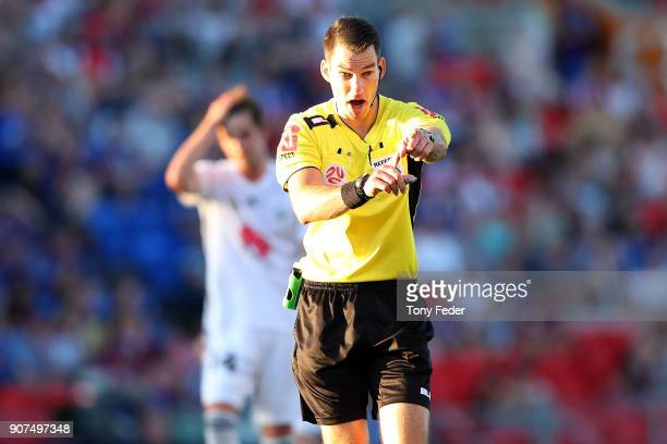 Referee Jarred Gillett during the round 17 ALeague match between the Newcastle Jets and Wellington Phoenix at McDonald Jones Stadium on January 20...