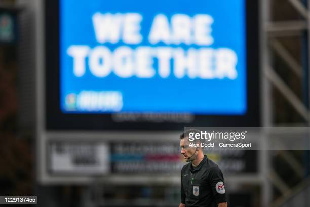 Referee Jarred Gillett during the Sky Bet Championship match between Blackburn Rovers and Nottingham Forest at Ewood Park on October 17 2020 in...