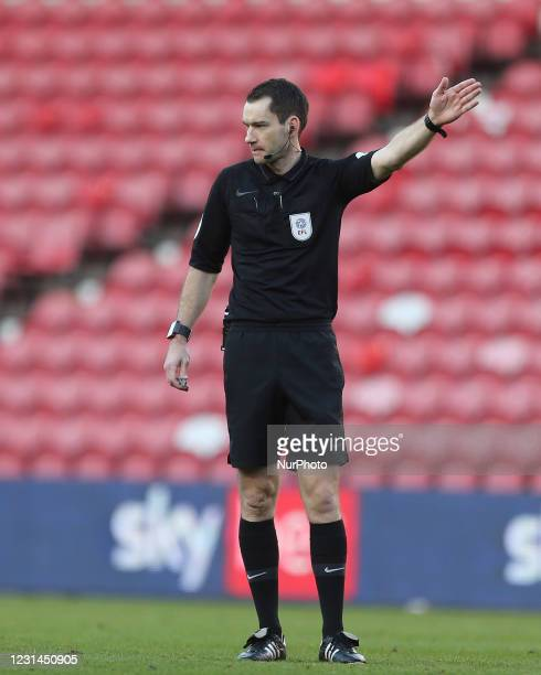 Referee Jarred Gillett during the Sky Bet Championship match between Middlesbrough and Cardiff City at the Riverside Stadium, Middlesbrough on...