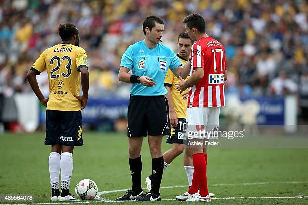 Referee Jarred Gillett gives away a free kick to the Mariners during the round 20 ALeague match between the Central Coast Mariners and Melbourne City...